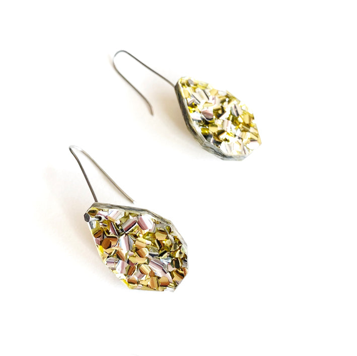 Gem Drop Earrings - Gold / Silver