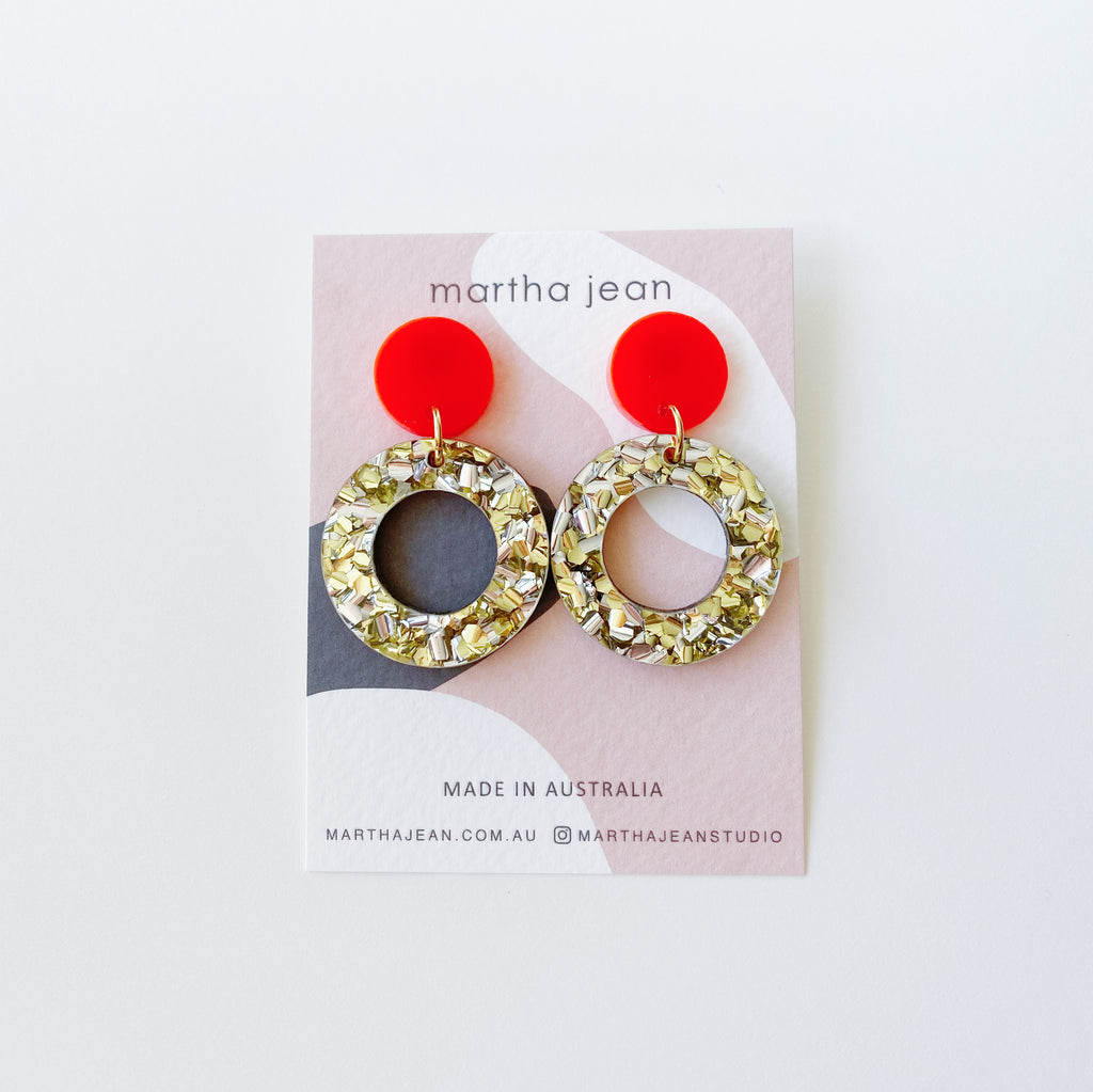 Double Dot Earrings - Neon Red/Gold