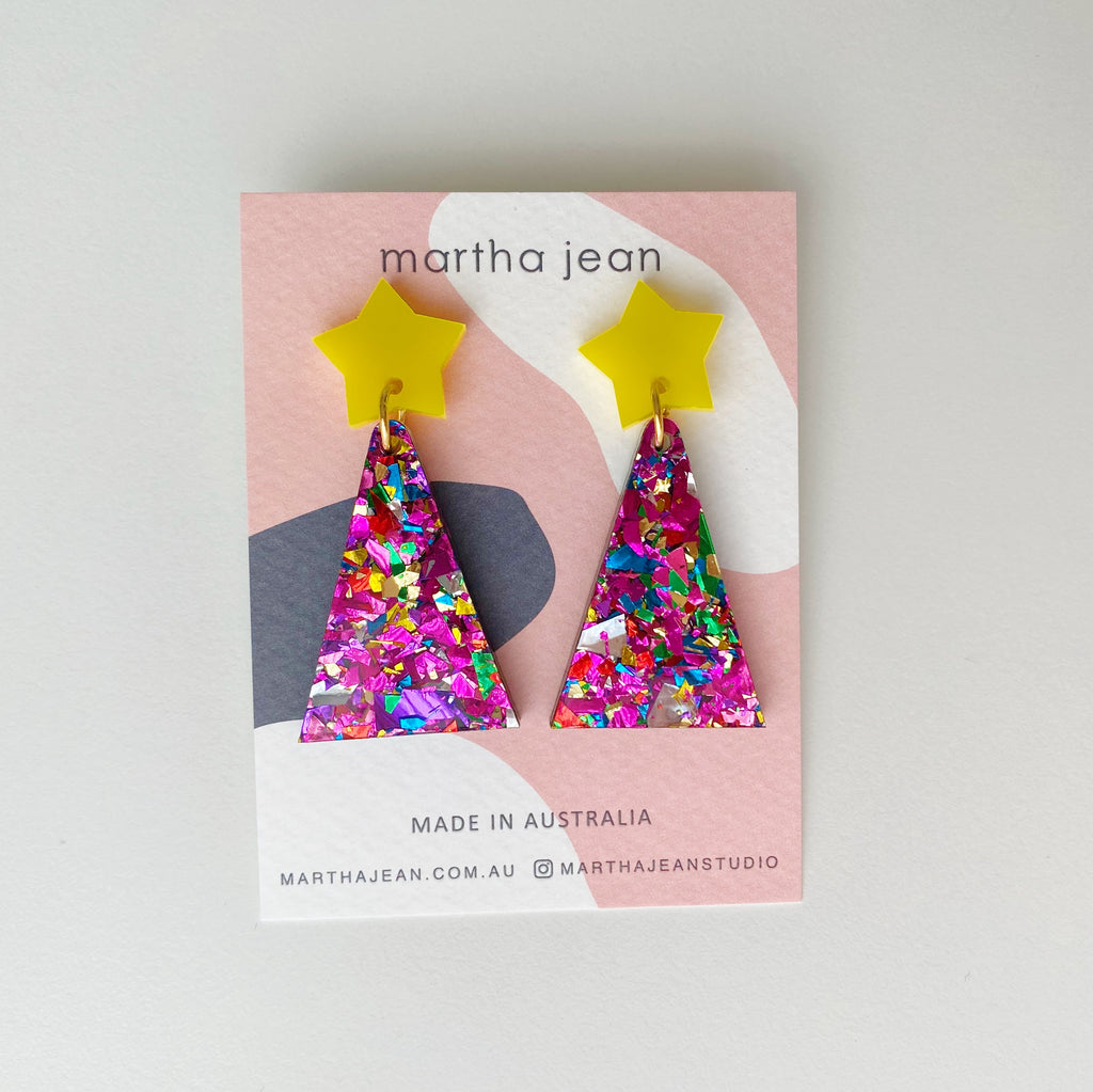 Christmas Tree Earrings - Yellow/Magenta Glitter -  LIMITED EDITION