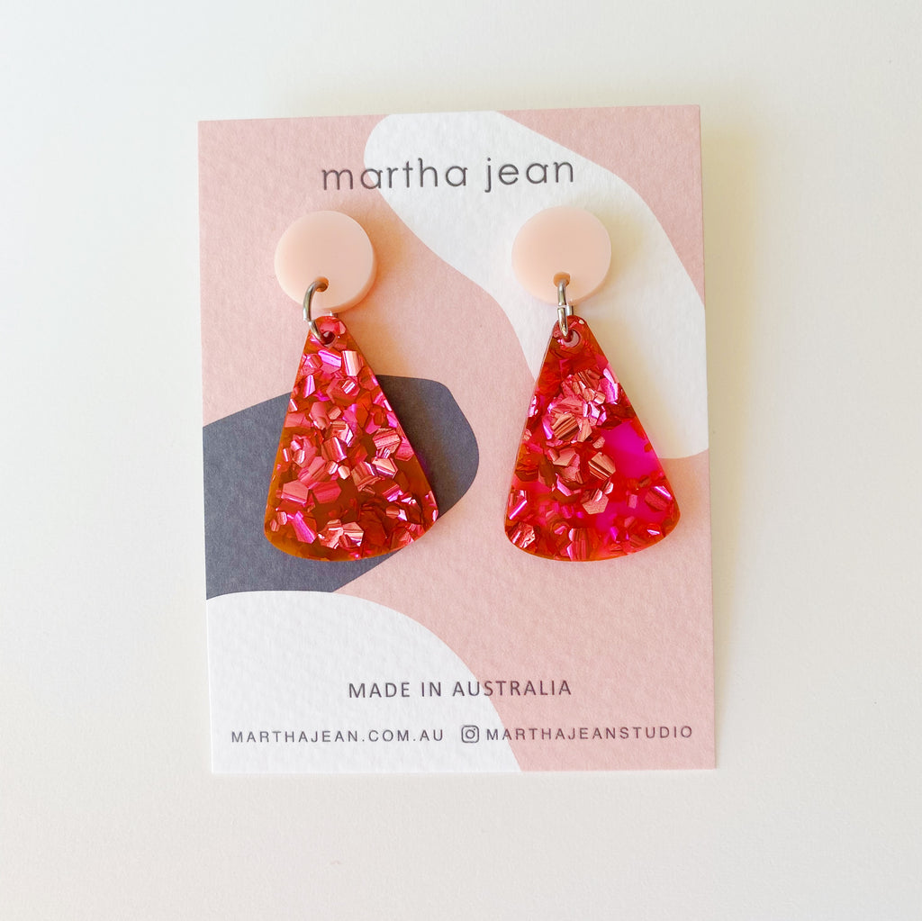 Moon Mountain Earrings - Pink/Fluro Pink