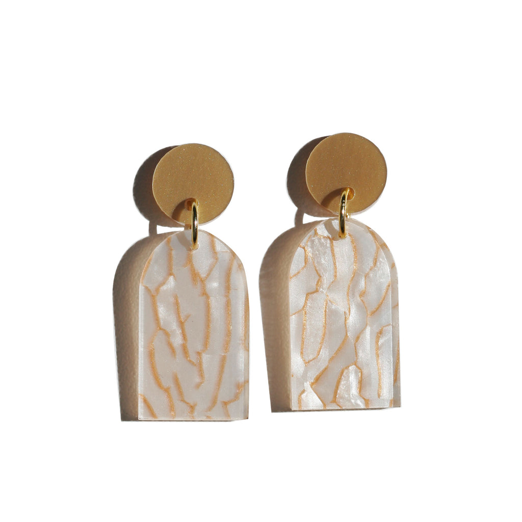 Arc Earrings - Tiger White