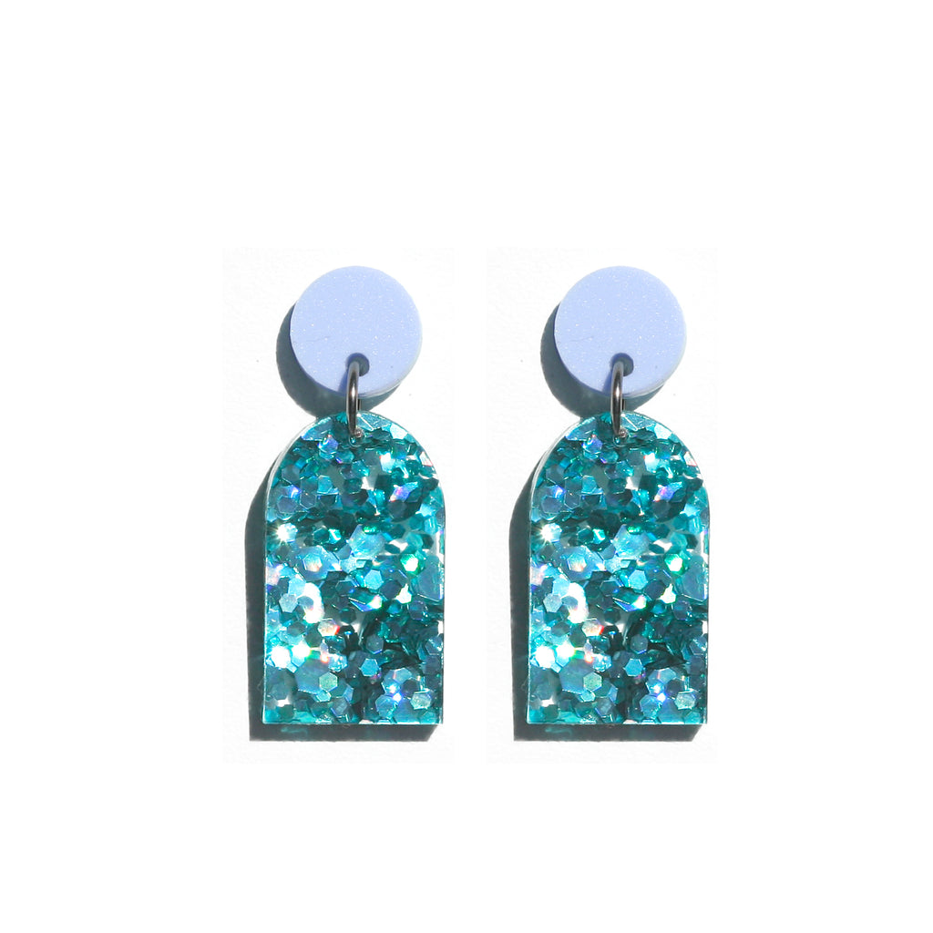 Arc Earrings - Violet / Turquoise