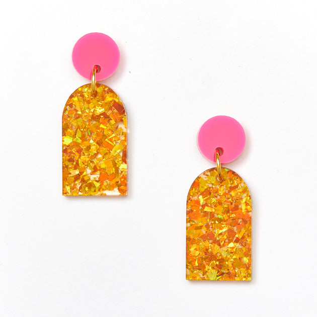 Arc Earrings - Magenta / Amber