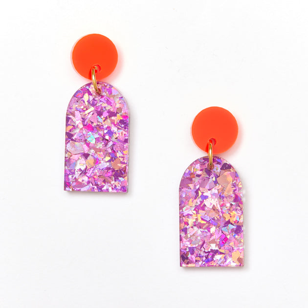 Arc Earrings - Neon Orange / Mauve