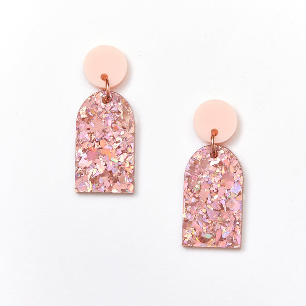 Arc Earrings - Pink / Pink