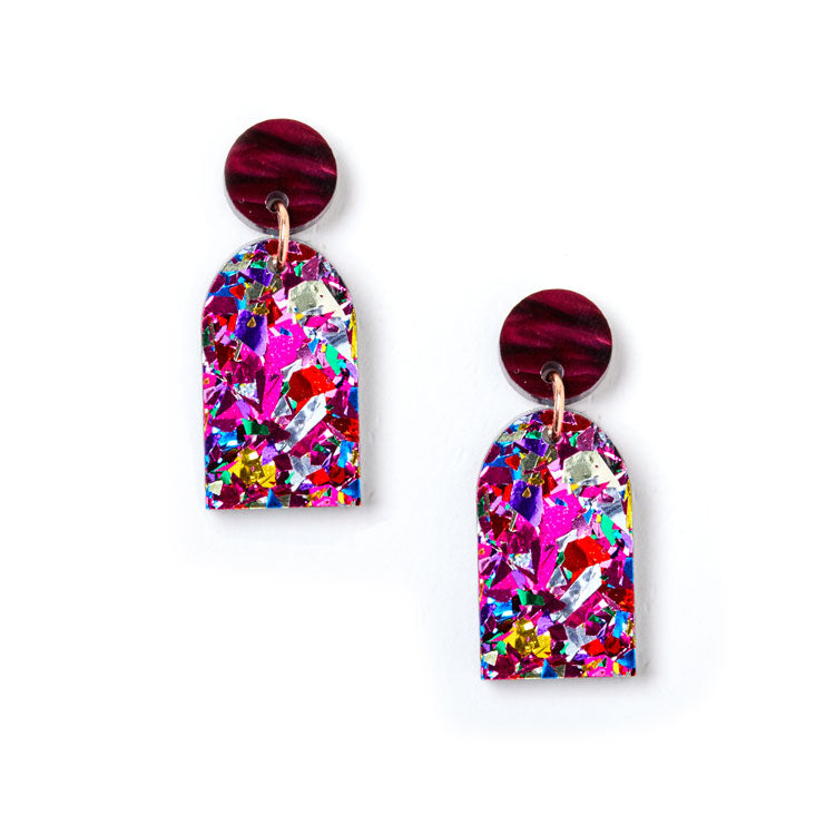 Arc Earrings - Plum / Fuschia