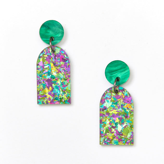 Arc Earrings - Green / Peacock