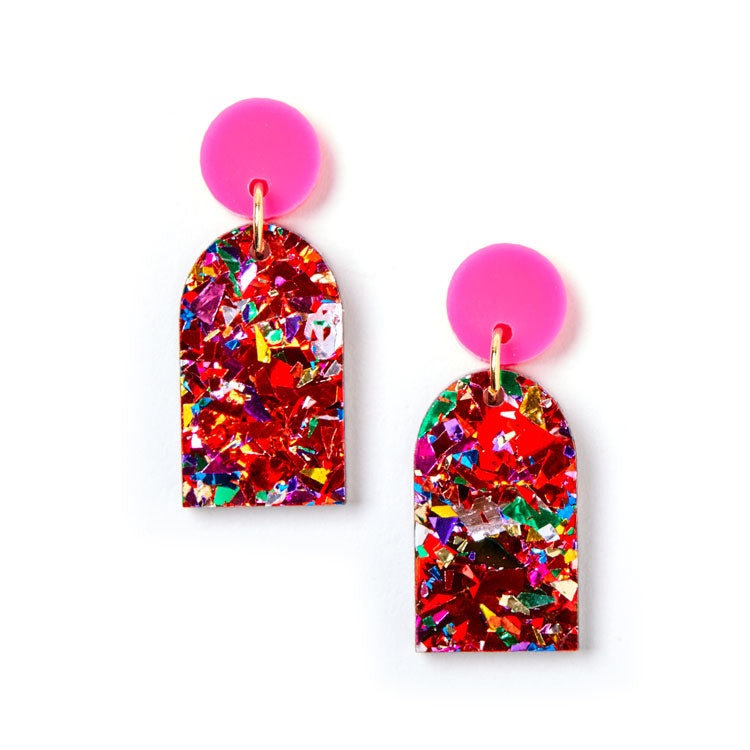 Arc Earrings - Scarlet