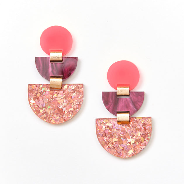 Boat Earrings - Neon Pink