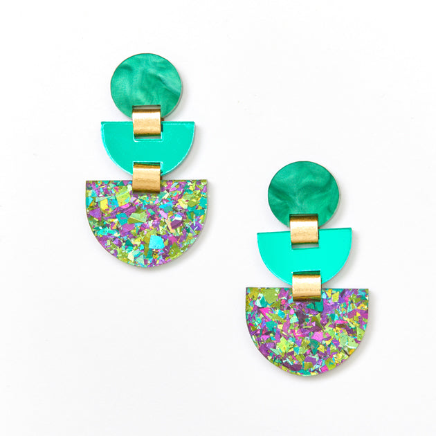 Boat Earrings - Green / Peacock