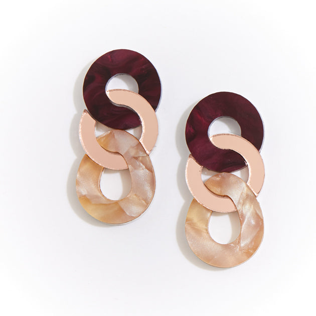 Braid Earrings - Burgundy
