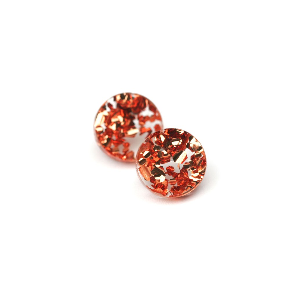 Circle Stud Earrings - Rose Copper