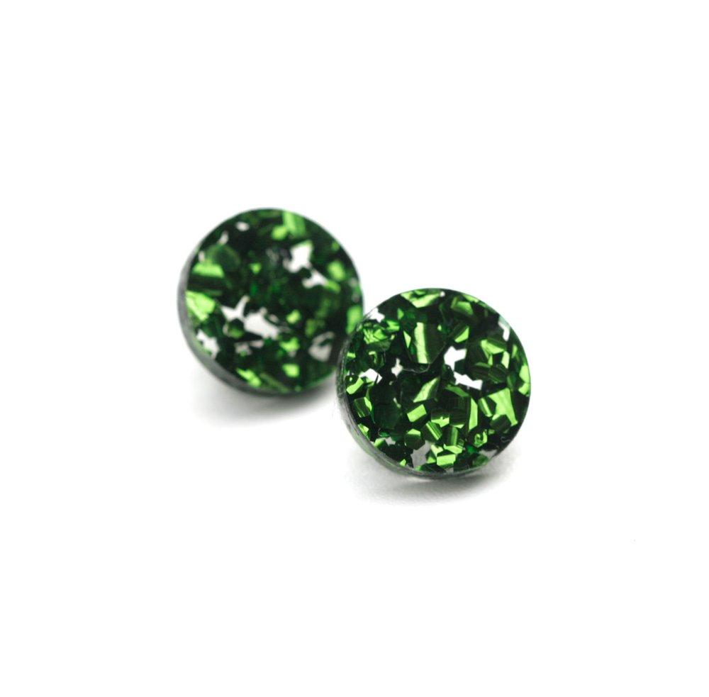 Circle Stud Earrings - Green Glitter