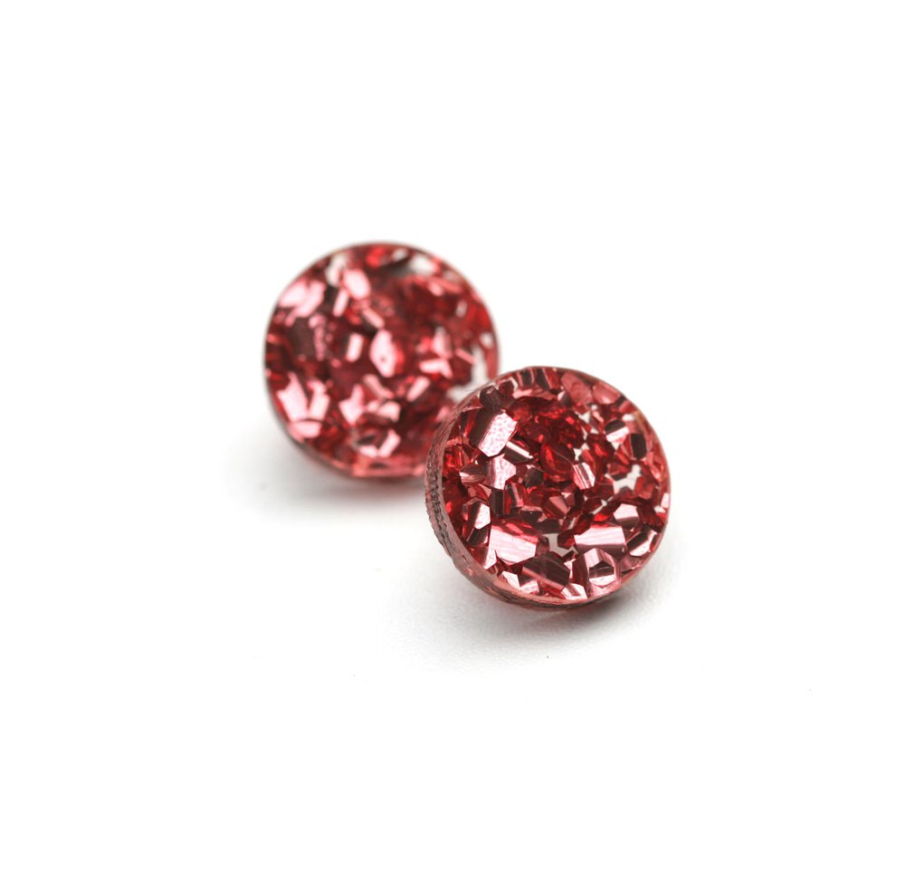 Circle Stud Earrings - Glitter Pink