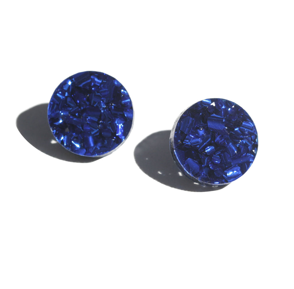 Circle Stud Earrings - Navy