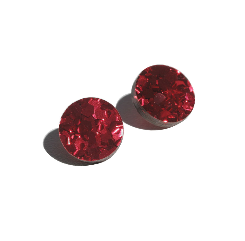 Circle Stud Earrings - Red
