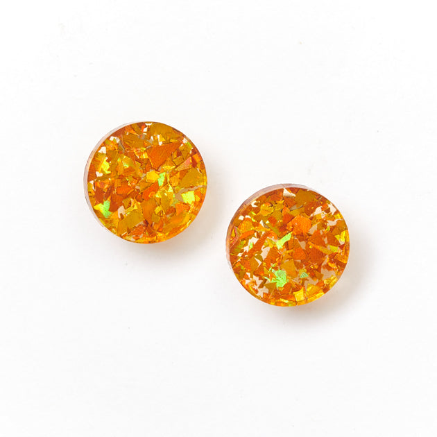 Circle Stud Earrings - Amber