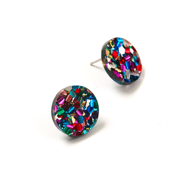 Circle Stud Earrings - Disco