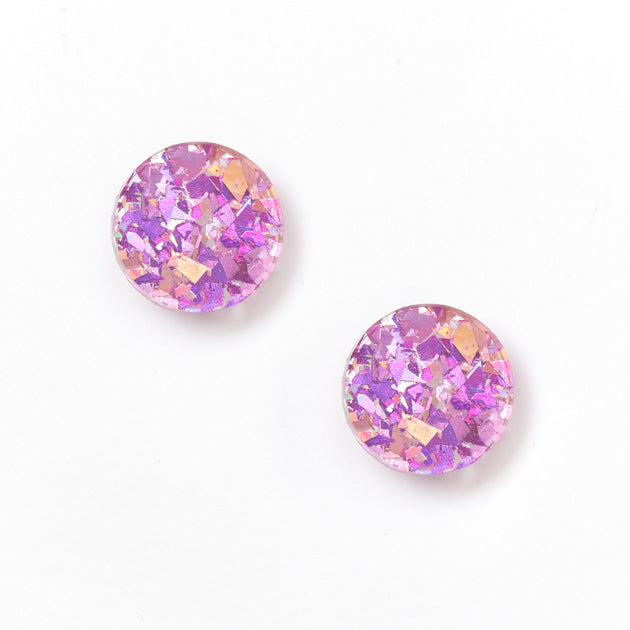 Circle Stud Earrings - Mauve