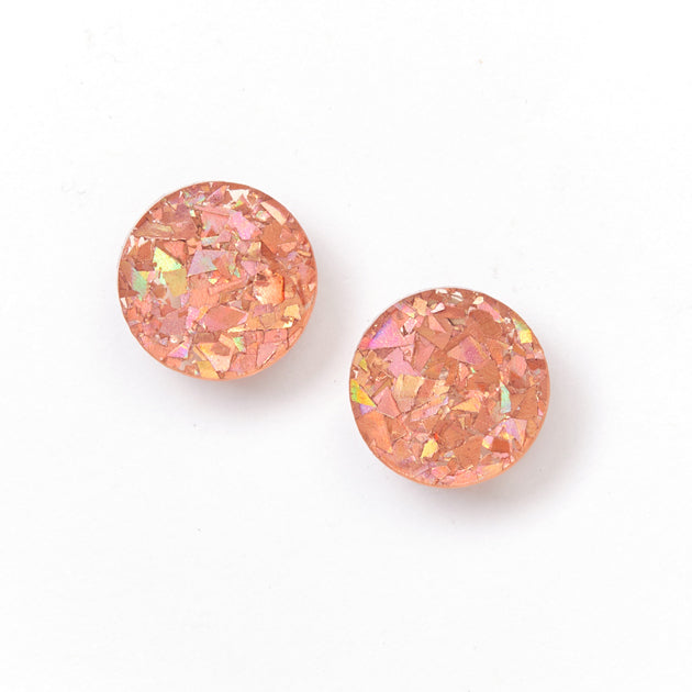 Circle Stud Earrings - Pink