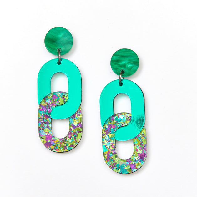Chain Earrings - Green / Peacock