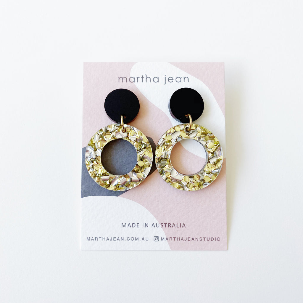 Double dot Earrings - Black/Gold