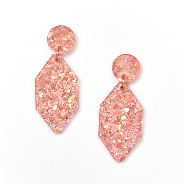 Diamond Earrings - Pink