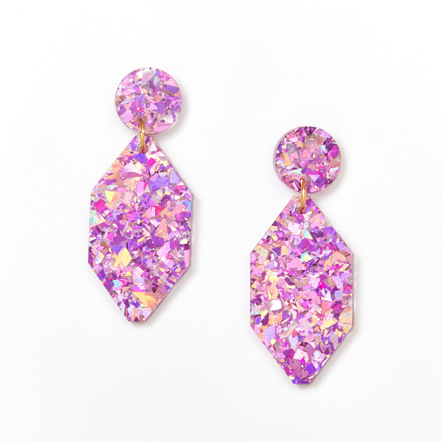 Diamond Earrings - Mauve