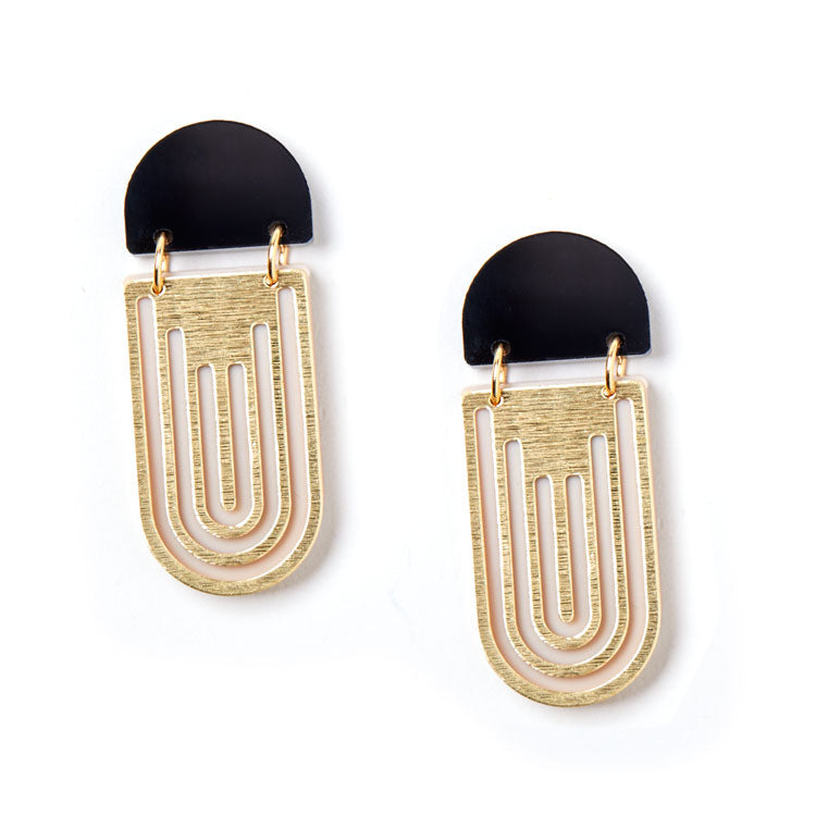 Empire Earrings - Black / Ivory