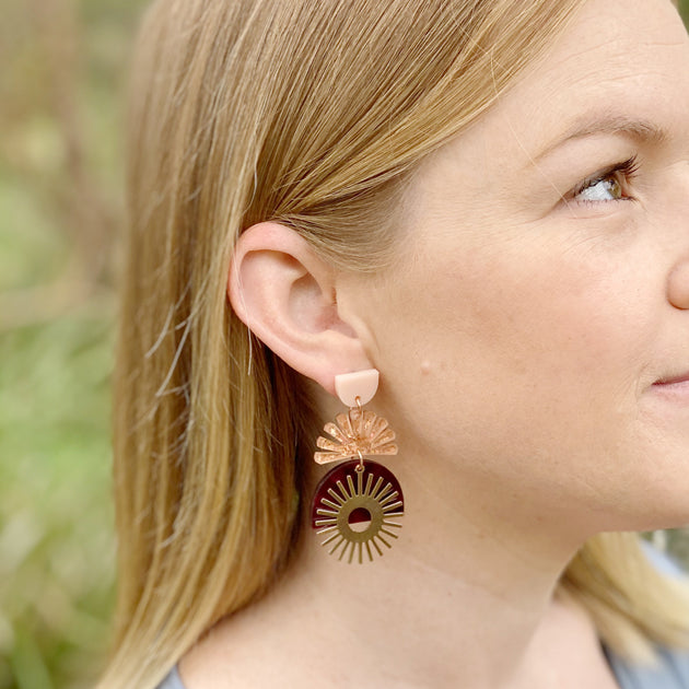 Sunset Earrings - Peacock / Burgundy
