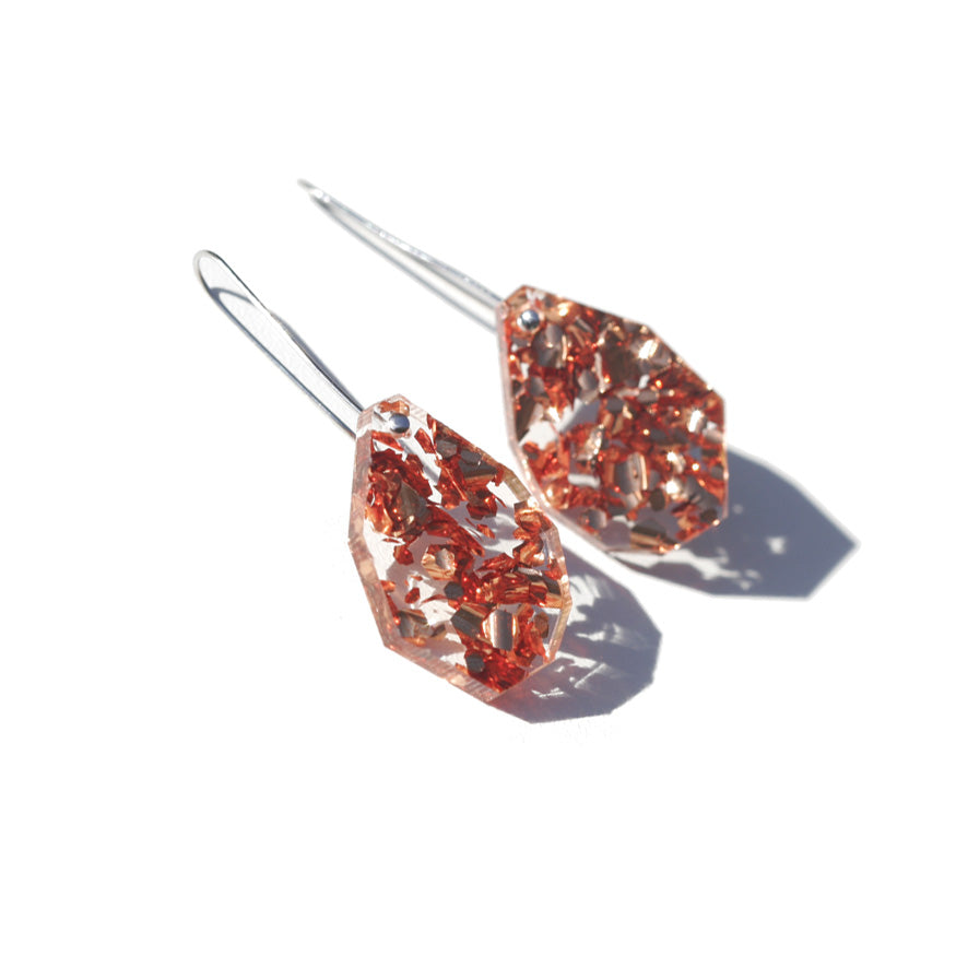 Gem Drop Earrings - Rose Copper