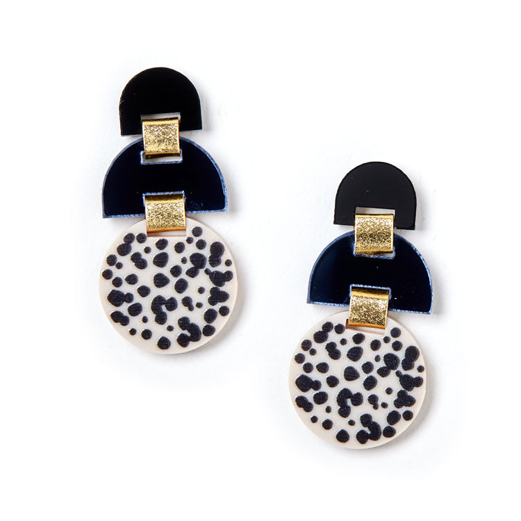 Half Moon Earrings - Black / Ivory