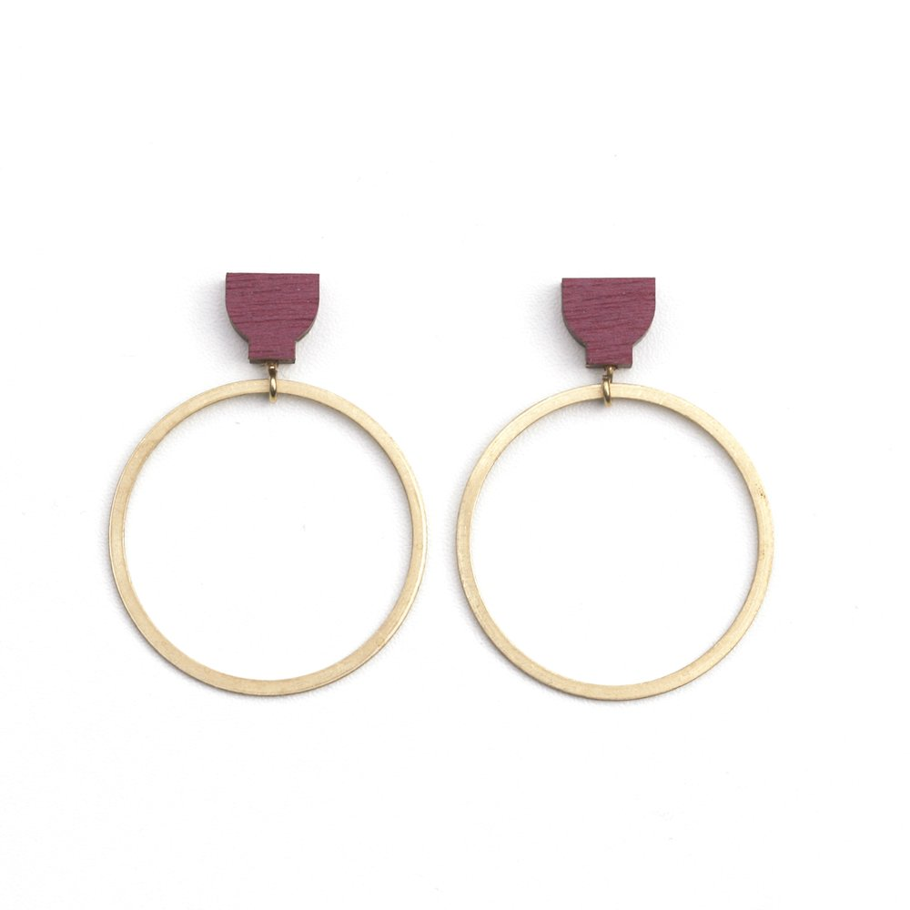 Hoop Earrings - Burgandy
