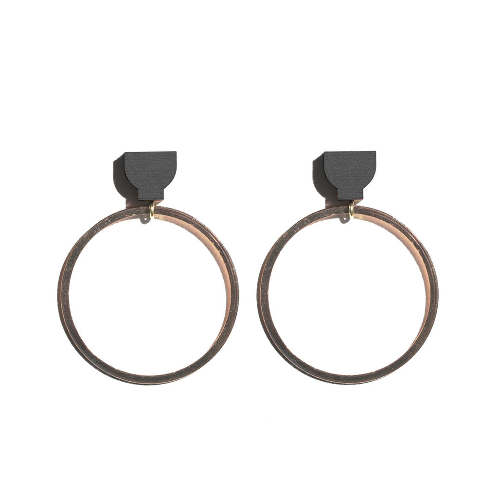 Hoop Earrings - Black / Copper