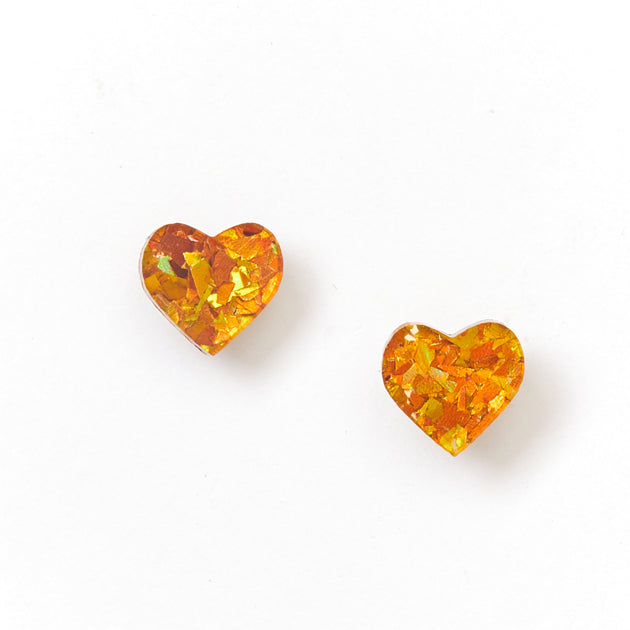 Heart Stud Earrings - Amber