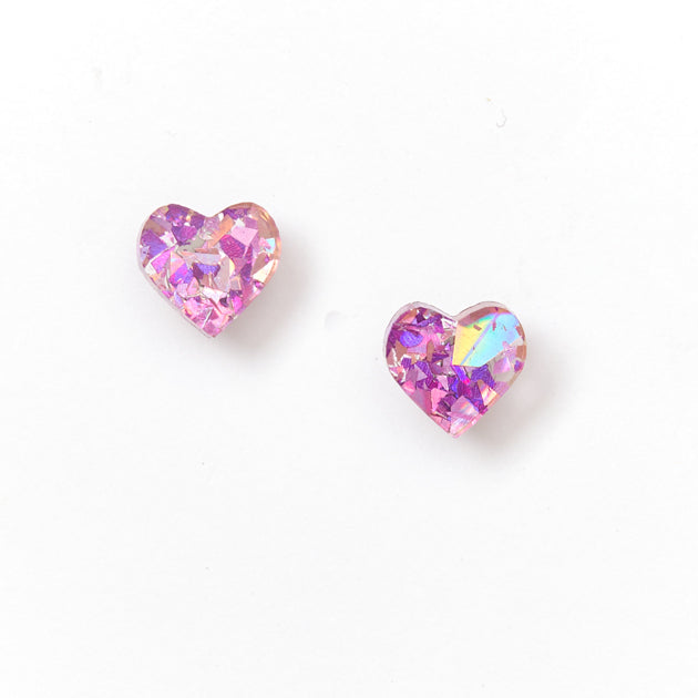 Heart Stud Earrings - Mauve