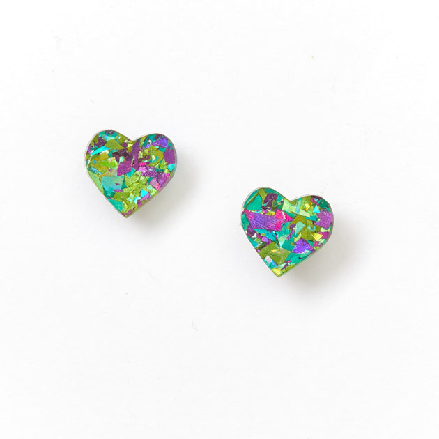 Heart Stud Earrings - Peacock