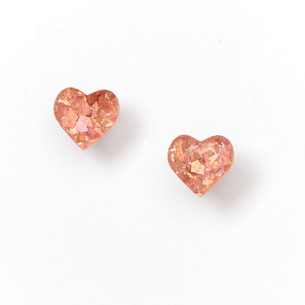 Heart Stud Earrings - Pink
