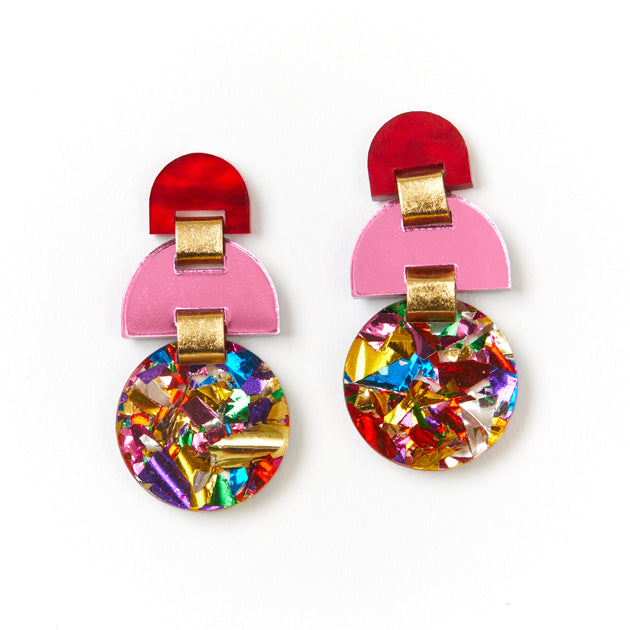 Half Moon Earrings - Rainbow Glitter