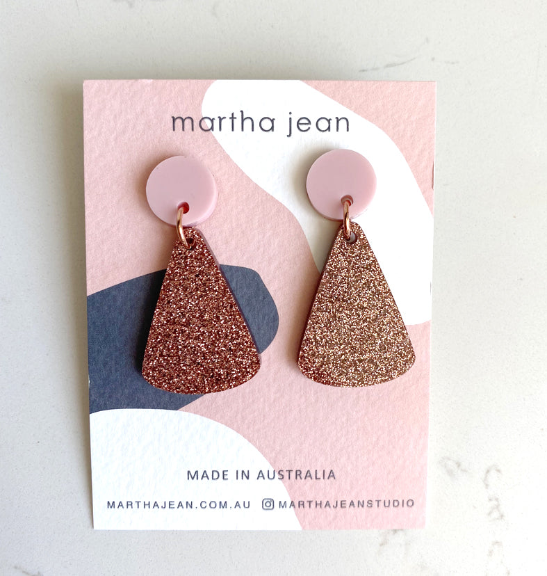 Moon Mountain Earrings - Pink/Glitter Copper