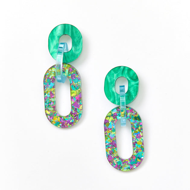 Jigsaw Earrings - Green / Peacock