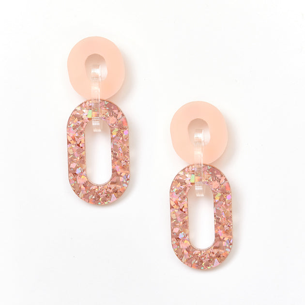 Picture Of Jigsaw Earrings - Pink / Pink