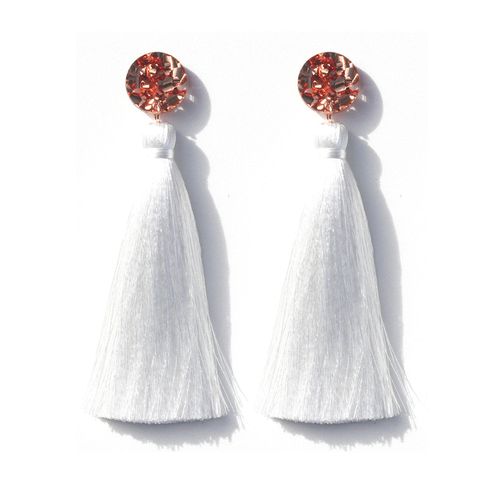 Tassel Earrings - Copper Glitter / White
