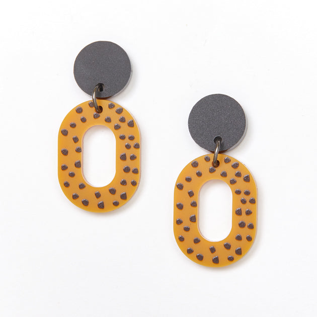 Lucy Earrings - Black / Mustard