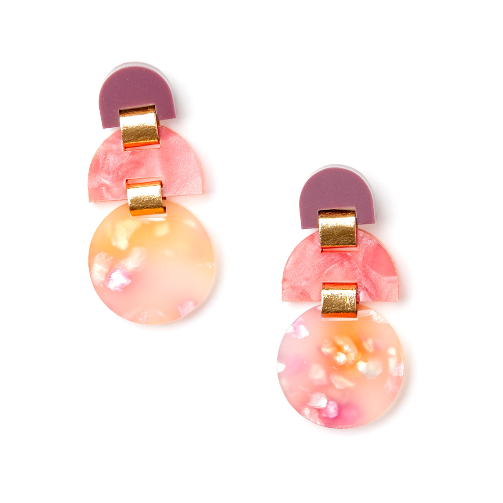 Half Moon Earrings - Peach