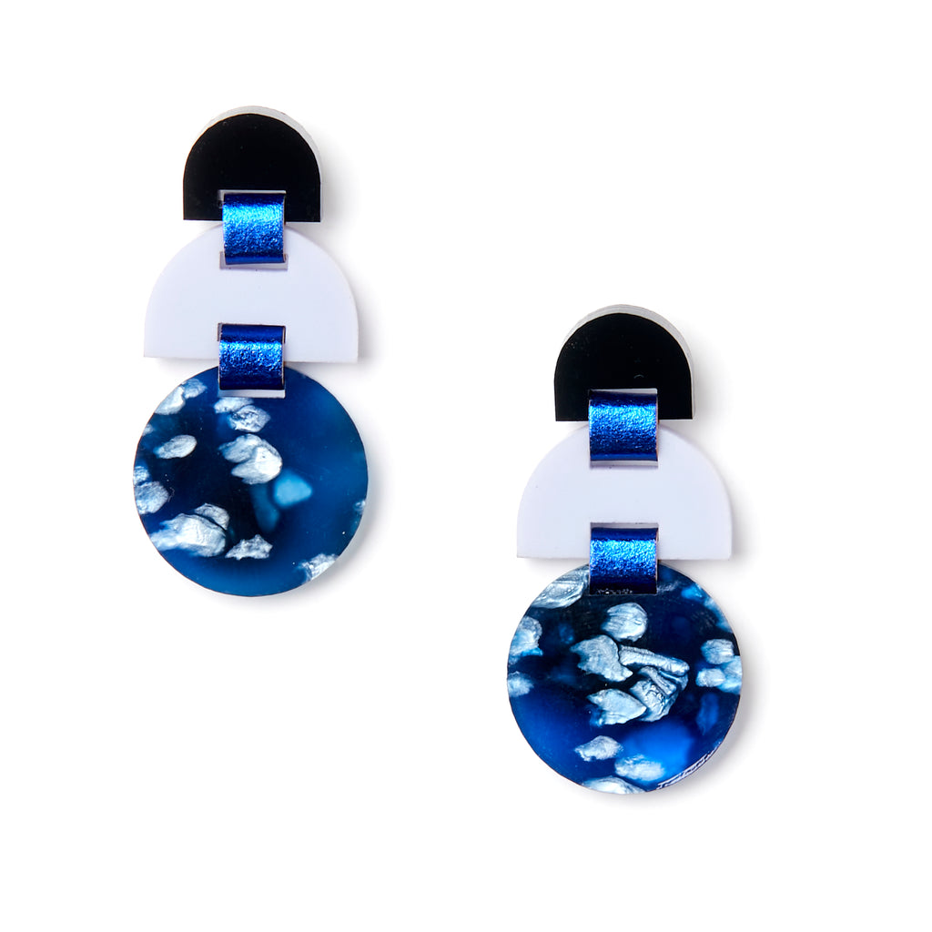 Half Moon Earrings - Dark Blue