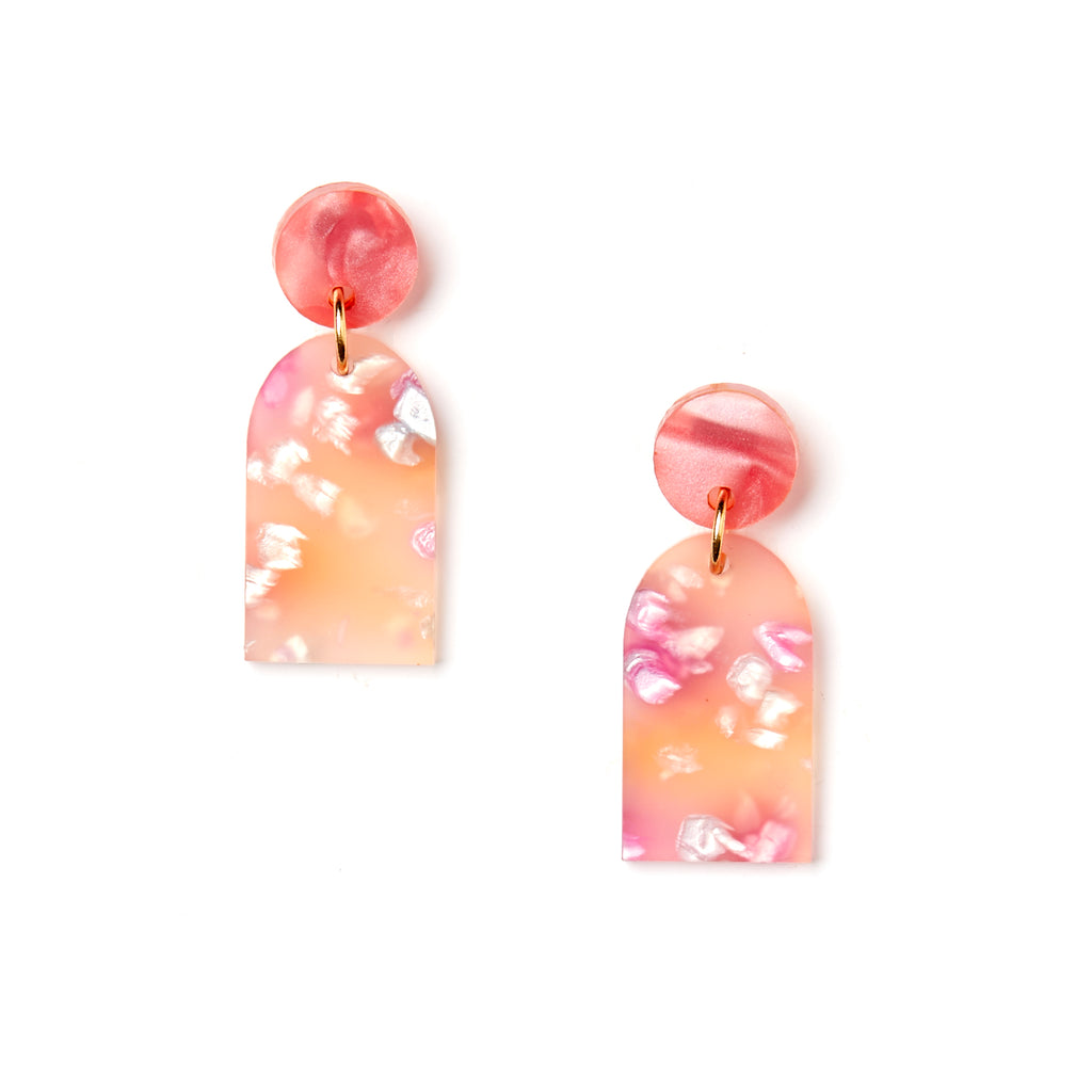 Arc Earrings - Peach
