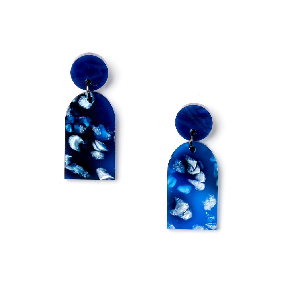 Arc Earrings - Dark Blue