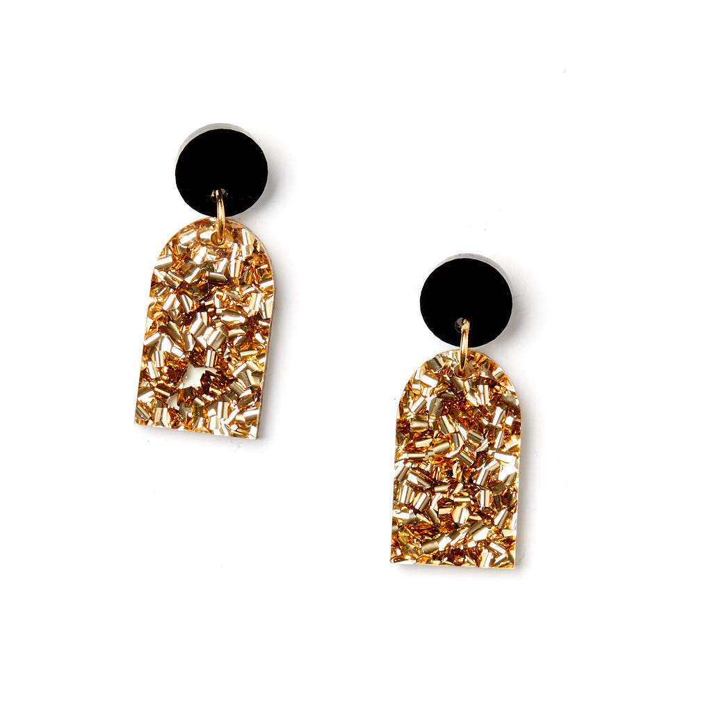 Arc Earrings - Black/Gold
