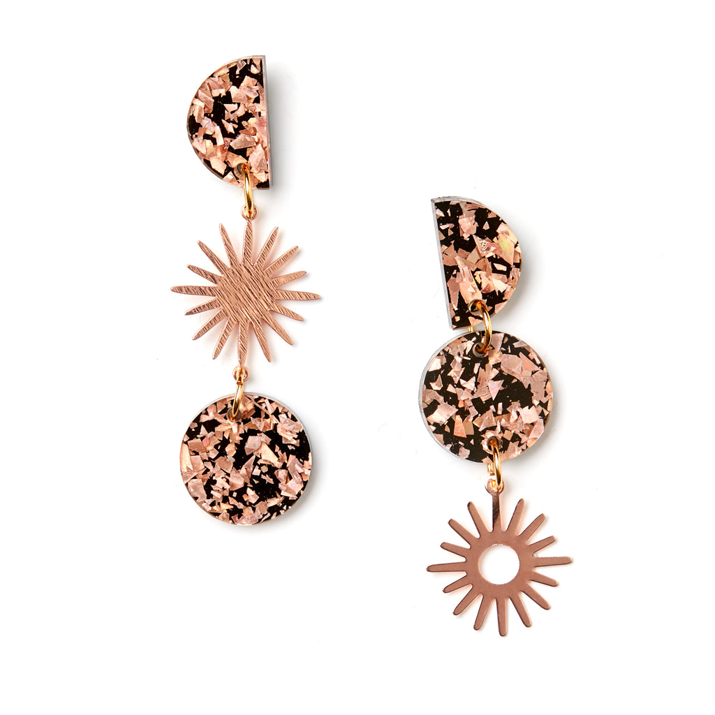 Sun Moon Earrings - Rose Gold